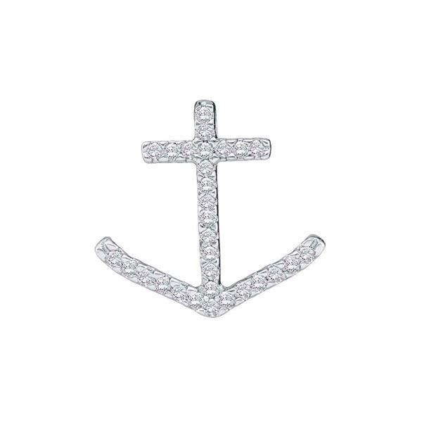 Round Diamond Anchor Nautical Pendant 1/4 Cttw 10KT White Gold