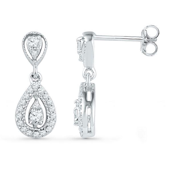 Round Diamond Teardrop Dangle Earrings 1/3 Cttw 10KT White Gold