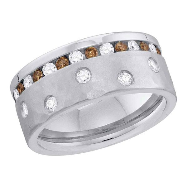 Round Brown Diamond Band Ring 1-1/8 Cttw 14KT White Gold