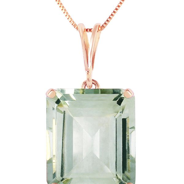 Genuine 6.5 ctw Green Amethyst Necklace 14KT Rose Gold - REF-35R2P