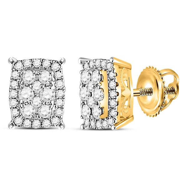 Round Diamond Rectangle Cluster Earrings 1/4 Cttw 14KT Yellow Gold