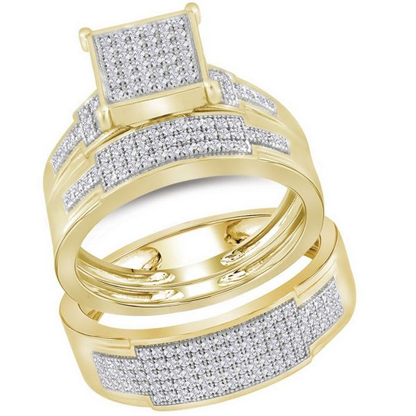 Diamond Square Matching Wedding Set 1/2 Cttw 10KT Yellow Gold