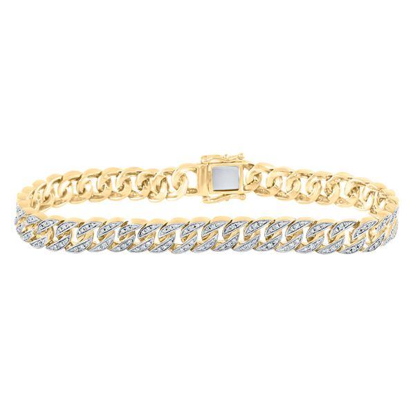 Round Diamond Cuban Link Bracelet 1-7/8 Cttw 10KT Yellow Gold