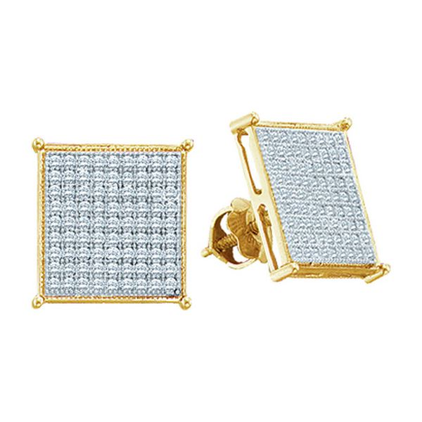 Round Diamond Square Cluster Stud Earrings 3/8 Cttw 10KT Yellow Gold