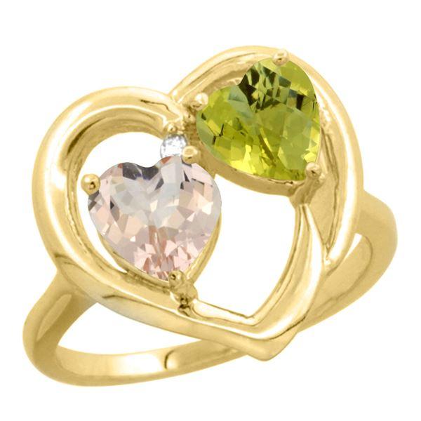 1.91 CTW Diamond, Morganite & Lemon Quartz Ring 14K Yellow Gold - REF-36F3N