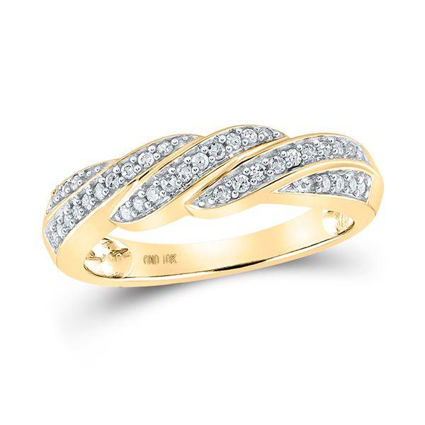 Round Diamond Diagonal Row Band Ring 1/4 Cttw 10KT Yellow Gold