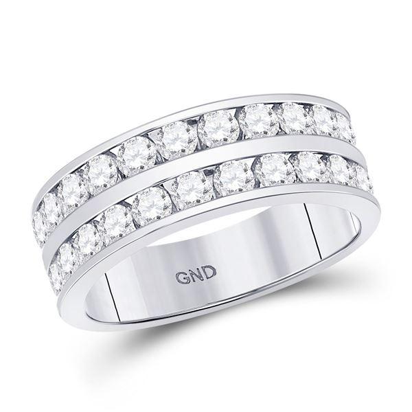 Round Diamond Double Row Wedding Band Ring 2 Cttw 14KT White Gold