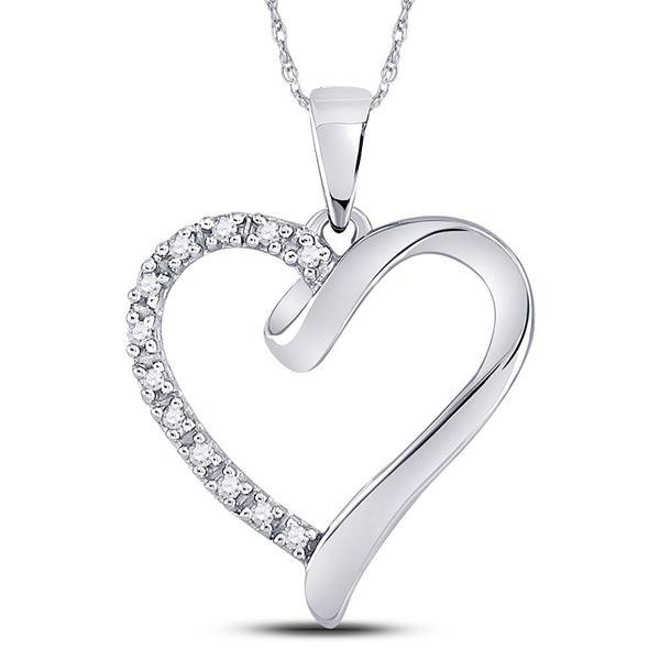 Round Diamond Heart Pendant 1/20 Cttw 10KT White Gold