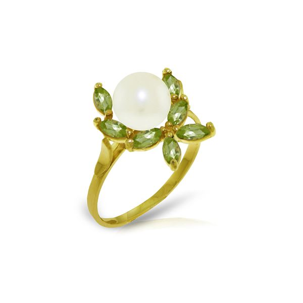 Genuine 2.65 ctw Pearl & Peridot Ring 14KT Yellow Gold - REF-28P5H