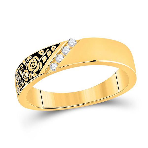 Round Diamond Wedding Rose Flower Band Ring 1/20 Cttw 14KT Yellow Gold