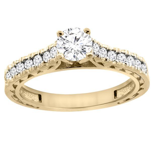 0.70 CTW Diamond Ring 14K Yellow Gold - REF-116Y9V