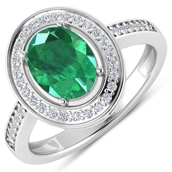 Natural 1.87 CTW Zambian Emerald & Diamond Ring 14K White Gold - REF-81F8N