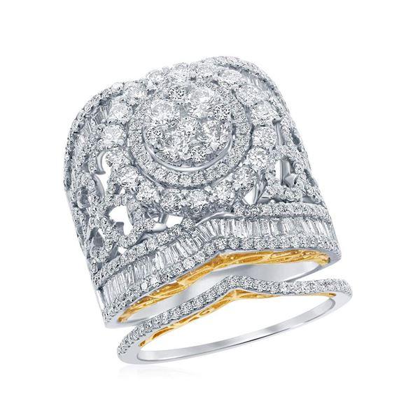 Diamond Bridal Wedding Ring Band Set 3 Cttw 14KT Two-tone Gold