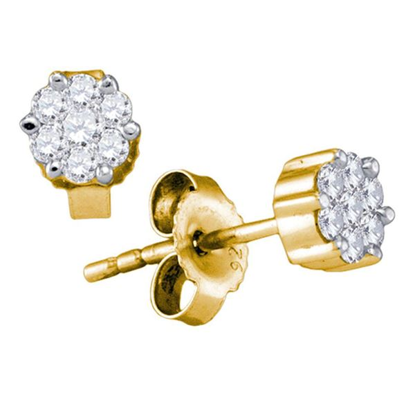 Round Diamond Flower Cluster Earrings 1/3 Cttw 14KT Yellow Gold