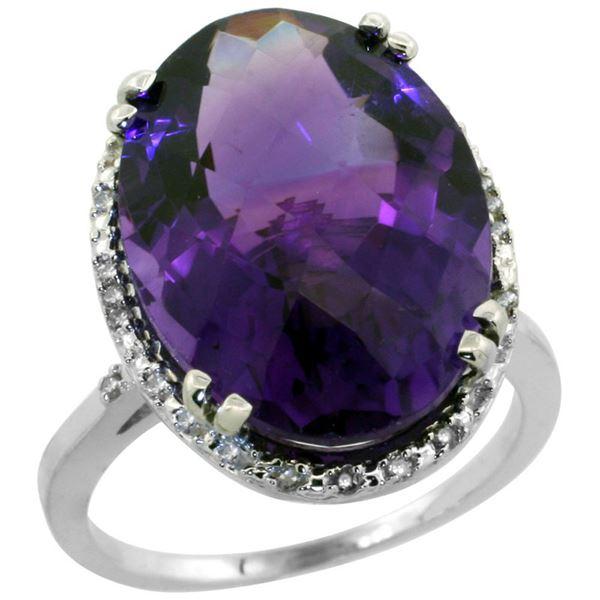 13.71 CTW Amethyst & Diamond Ring 14K White Gold - REF-59M4A