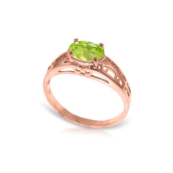 Genuine 1.15 ctw Peridot Ring 14KT Rose Gold - REF-32P3H