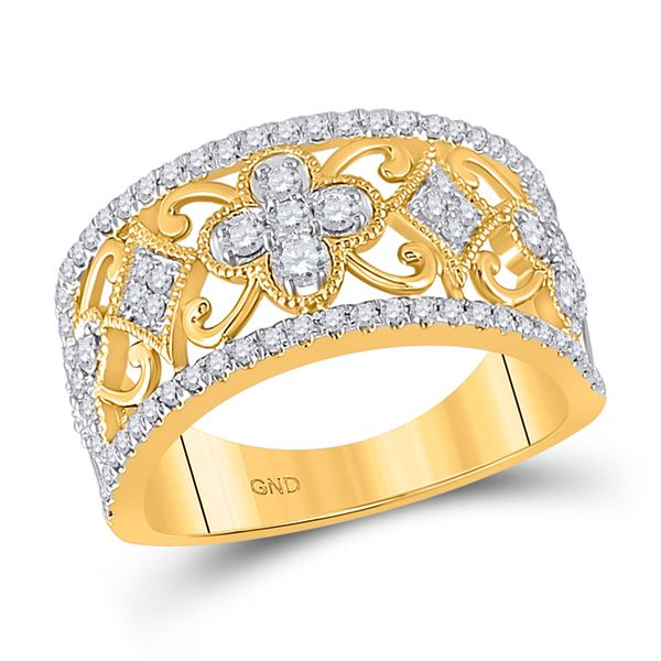 Round Diamond Clover Square Band Ring 5/8 Cttw 14KT Yellow Gold