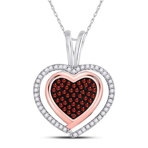 Round Red Color Enhanced Diamond Heart Pendant 1/12 Cttw 10KT White Gold