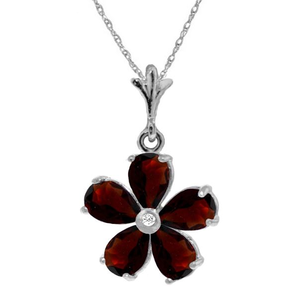 Genuine 2.22 ctw Garnet & Diamond Necklace 14KT White Gold - REF-30Z2N