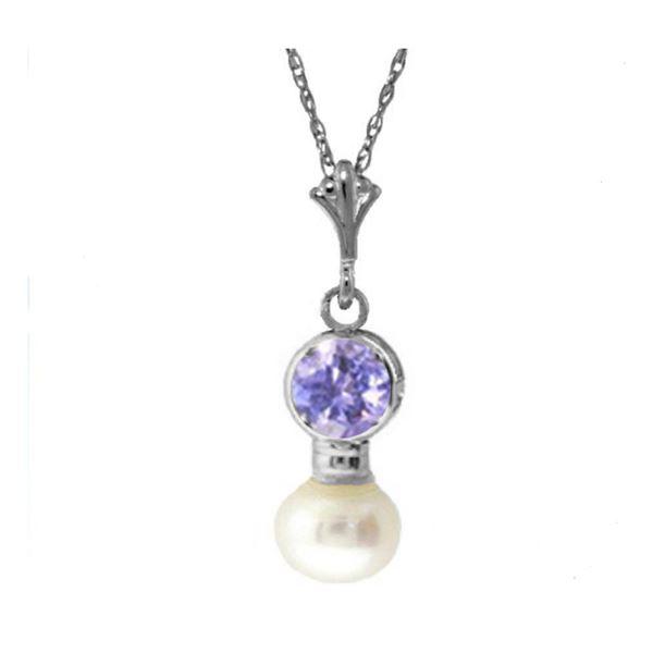 Genuine 2.48 ctw Tanzanite & Pearl Necklace 14KT White Gold - REF-20T8A