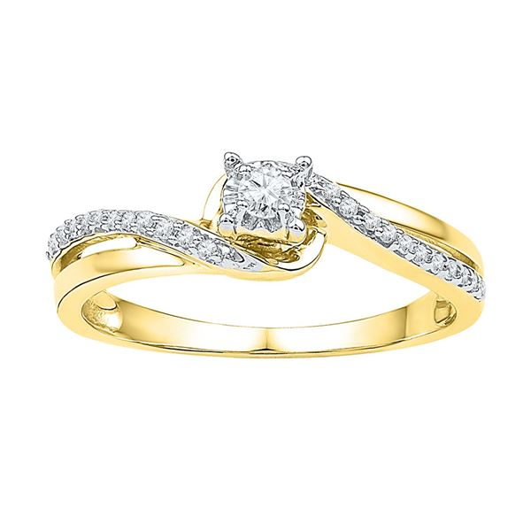Diamond Solitaire Bridal Wedding Engagement Ring 1/8 Cttw 10KT Yellow Gold