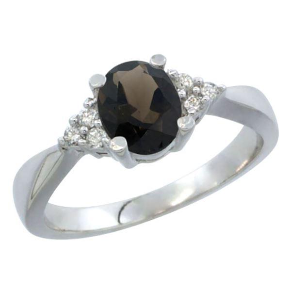 1.06 CTW Quartz & Diamond Ring 14K White Gold - REF-36M9K