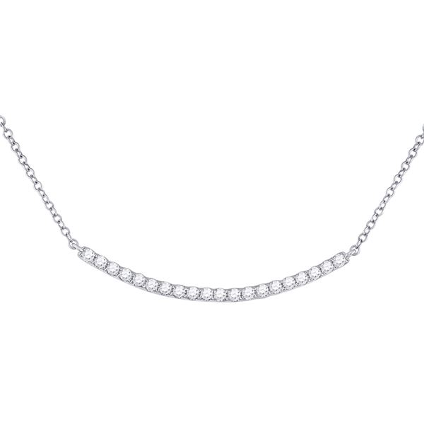 Round Diamond Curved Bar Necklace 1/2 Cttw 14KT White Gold