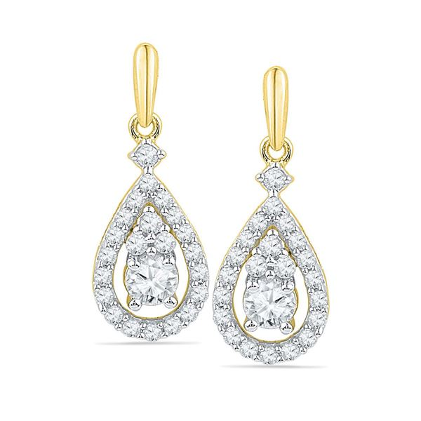 Round Diamond Solitaire Teardrop Frame Dangle Earrings 1/2 Cttw 10KT Yellow Gold