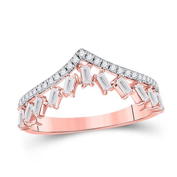 Baguette Diamond Chevron Band Ring 3/8 Cttw 14KT Rose Gold