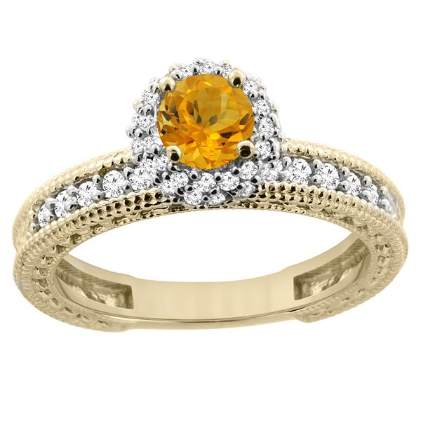 0.77 CTW Citrine & Diamond Ring 14K Yellow Gold - REF-65H7M