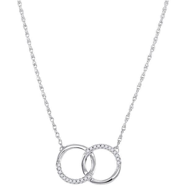 Round Diamond Interlocking Double Circle Pendant Necklace 1/10 Cttw 10KT White Gold