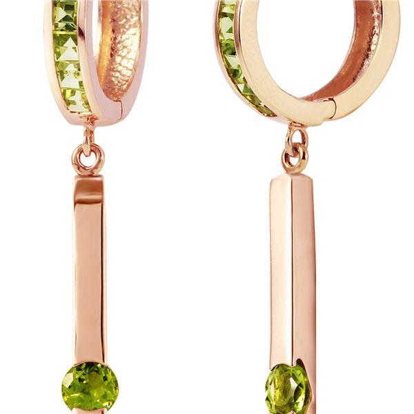 Genuine 1.35 ctw Peridot Earrings 14KT Rose Gold - REF-66A2K