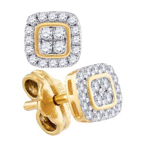 Round Diamond Square Cluster Stud Earrings 1/5 Cttw 10KT Yellow Gold