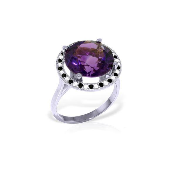 Genuine 6.2 ctw Amethyst, White & Black Diamond Ring 14KT White Gold - REF-91W8Y