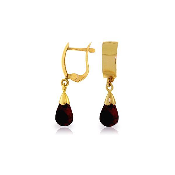Genuine 2.5 ctw Garnet Earrings 14KT Yellow Gold - REF-22Y3F