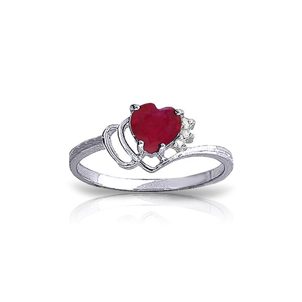 Genuine 1.02 ctw Ruby & Diamond Ring 14KT White Gold - REF-35T5A
