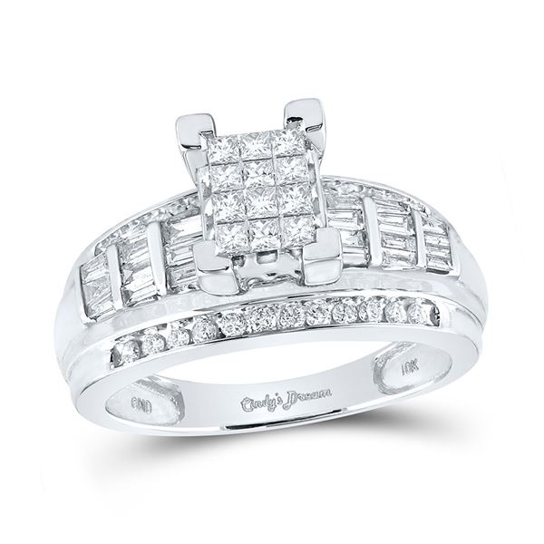 Cluster Bridal Wedding Engagement Ring 7/8 Cttw 10KT White Gold