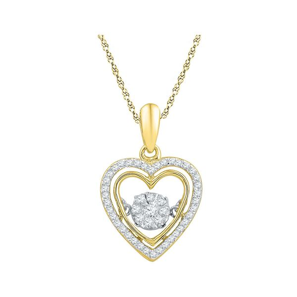 Round Diamond Moving Twinkle Heart Pendant 1/4 Cttw 10KT Yellow Gold