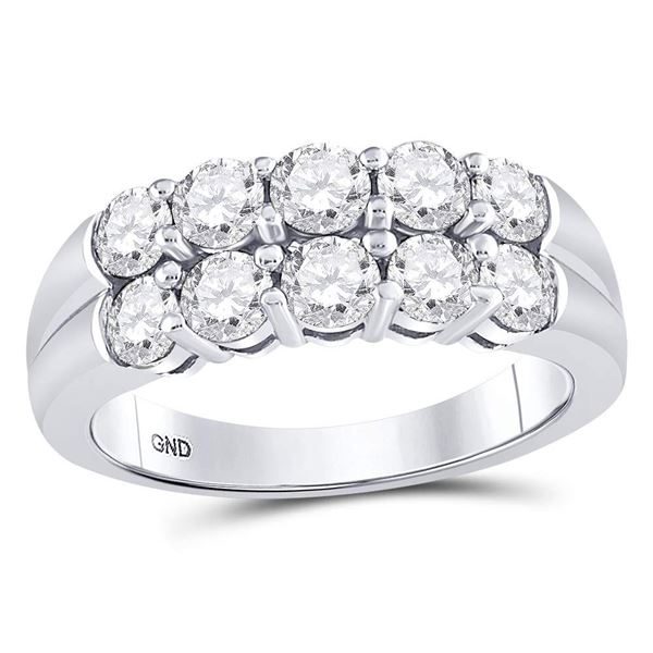Round Diamond 2-Row Anniversary Band Ring 1-1/2 Cttw 14KT White Gold