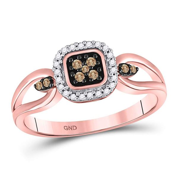 Round Brown Diamond Square Cluster Ring 1/8 Cttw 10KT Rose Gold