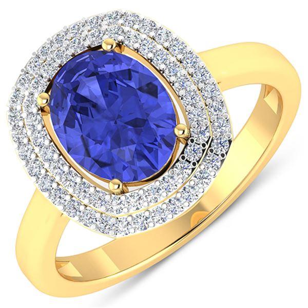 Natural 1.88 CTW Tanzanite & Diamond Ring 14K Yellow Gold - REF-63T9H