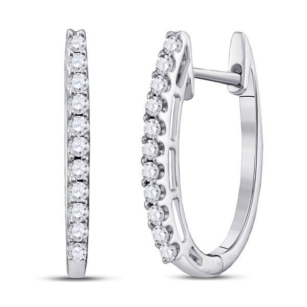 Round Diamond Hoop Earrings 1/4 Cttw 14KT White Gold