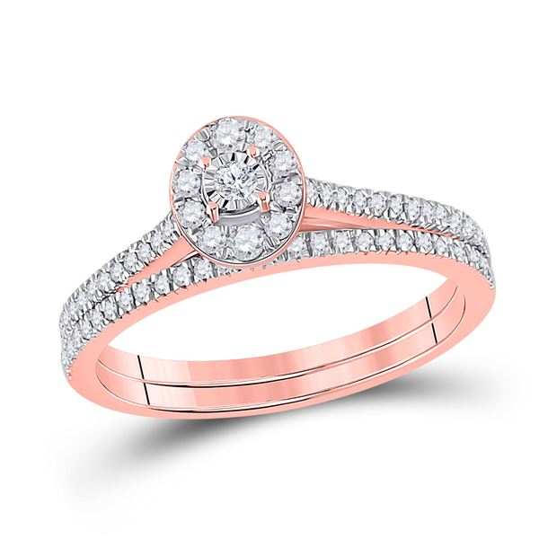 Diamond Oval Bridal Wedding Ring Band Set 1/3 Cttw 10KT Rose Gold
