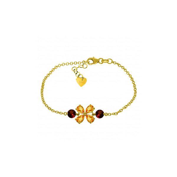 Genuine 3.15 ctw Citrine & Garnet Bracelet 14KT Yellow Gold - REF-56V4W