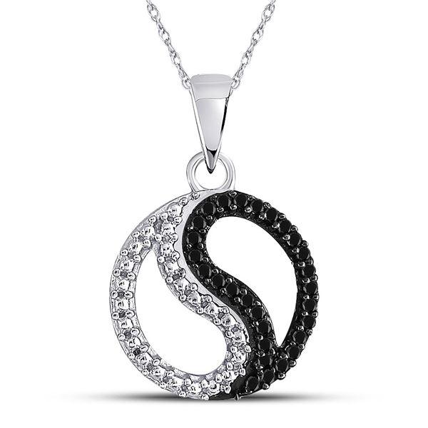 Round Black Color Enhanced Diamond Ying Yang Circle Pendant 1/10 Cttw 10KT White Gold