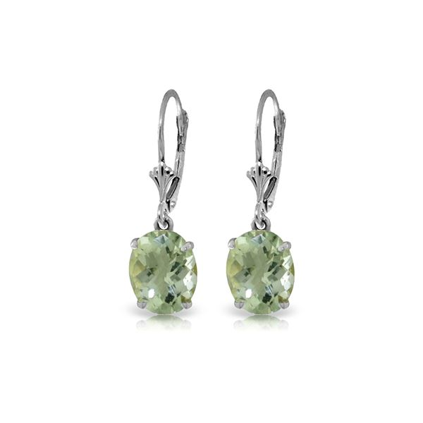 Genuine 6.25 ctw Green Amethyst Earrings 14KT White Gold - REF-41H2X