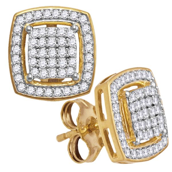Round Diamond Square Frame Cluster Earrings 1/3 Cttw 10KT Yellow Gold