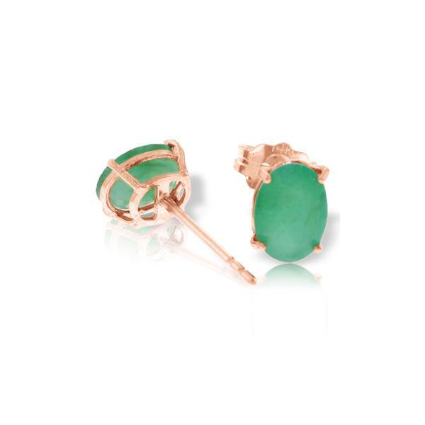 Genuine 1.80 ctw Emerald Earrings 14KT Rose Gold - REF-24N5R