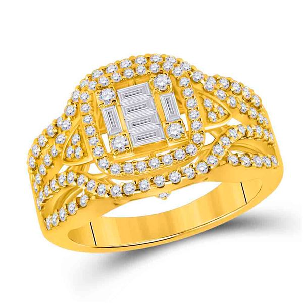 Baguette Diamond Square Fashion Ring 1 Cttw 14KT Yellow Gold