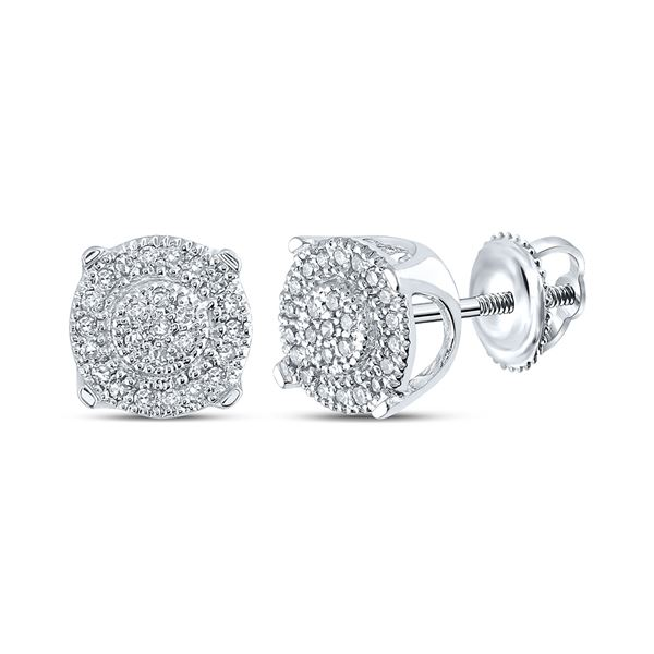 Round Diamond Fashion Cluster Earrings 1/8 Cttw 10KT White Gold